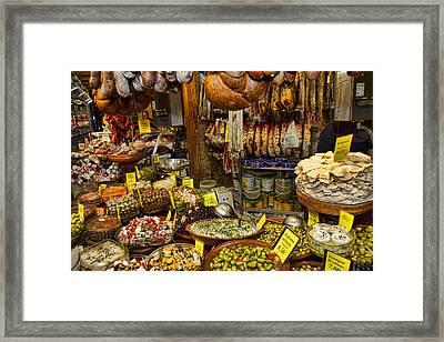 Deli In The Olivar Market In Palma Mallorca Spain Framed Print by David Smith