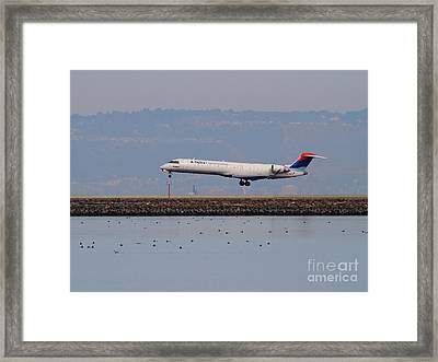 Delta Airlines Jet Airplane At San Francisco International Airport Sfo . 7d12134 Framed Print