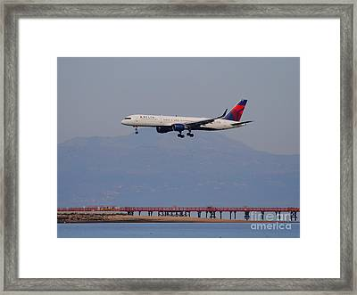 Delta Airlines Jet Airplane At San Francisco International Airport Sfo . 7d12182 Framed Print by Wingsdomain Art and Photography