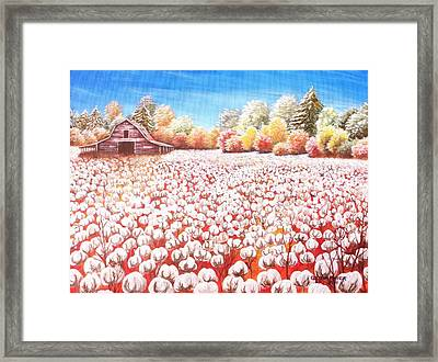 Delta Cotton Fileds With Mountain View Barn Framed Print by Cecilia Putter