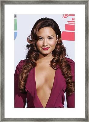 Demi Lovato Wearing A Roland Mouret Framed Print