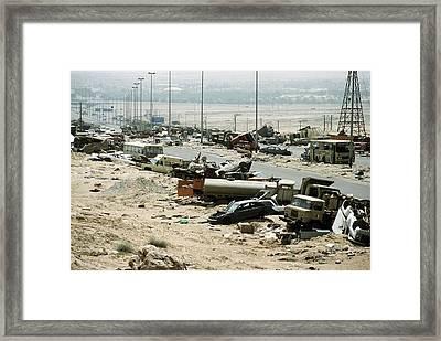 Demolished Vehicles Line Highway 80 Framed Print