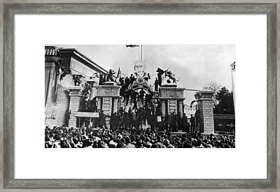 Demonstration For Iranian Premier Framed Print by Everett
