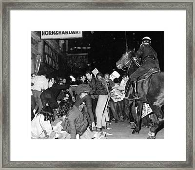 Demonstrators Pushed By New York City Framed Print by Everett