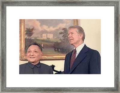 Deng Xiaoping And Jimmy Carter Framed Print by Everett