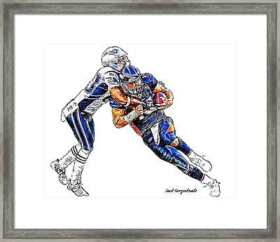 Denver Broncos Tim Tebow - New England Patriots Andre Carter Framed Print by Jack K