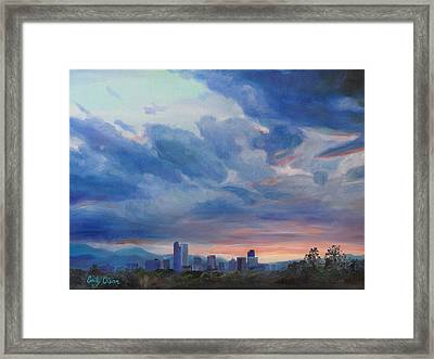 Denver Skyline At Sunset Framed Print