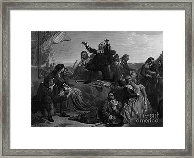 Departure Of The Pilgrims, 1620 Framed Print by Photo Researchers