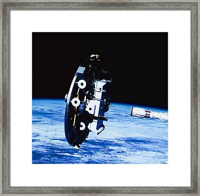 Deployment Of A Satellite In Space Framed Print