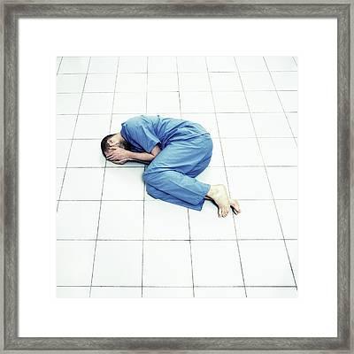 Depressed Man Framed Print by Kevin Curtis