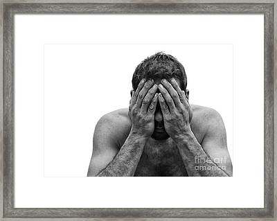 Depressed Man With Hands Over Face Framed Print by Brian Akamine