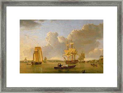 Deptford On Thames With A Distant View Of Greenwich Framed Print by John of Hull Ward