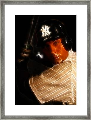 Derek Jeter - New York Yankees - Baseball  Framed Print by Lee Dos Santos
