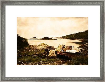 Derelict Boat In Outer Hebrides Framed Print by Jasna Buncic