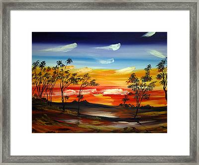 Framed Print featuring the painting Desert Fire by Roberto Gagliardi