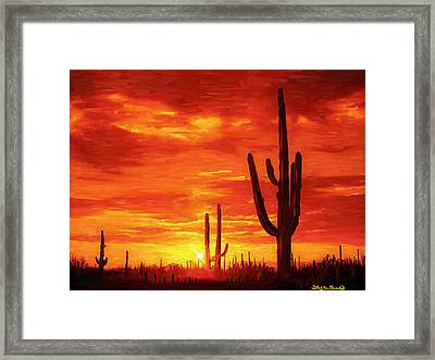 Framed Print featuring the painting Desert Heat by Wayne Pascall