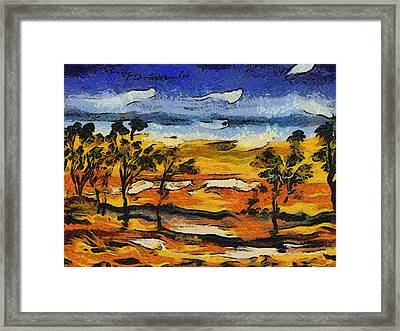 Framed Print featuring the digital art Desert Homage At Van Gogh by Roberto Gagliardi