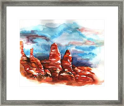 Framed Print featuring the painting Desert Sentries by Sharon Mick