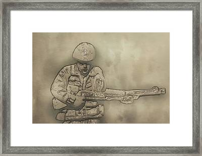 Desert Storm Army Soldier Framed Print by Randy Steele