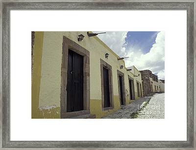 Deserted Cobblestone Street Real De Catorce Mexico Framed Print by John  Mitchell