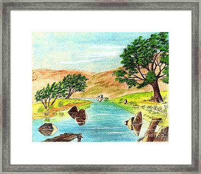 Deserted Desert Stream Framed Print