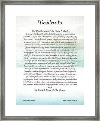 Desiderata Ocean Wave Framed Print by Desiderata Gallery