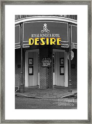 Desire Corner Bourbon Street French Quarter New Orleans Color Splash Black And White Digital Art  Framed Print by Shawn O'Brien