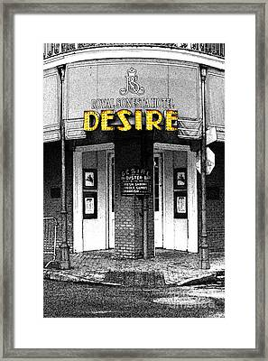 Desire Corner Bourbon Street French Quarter New Orleans Fresco Color Splash Black And White Framed Print