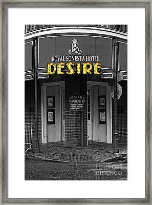Desire Corner Bourbon Street French Quarter New Orleans Poster Edges Color Splash Black And White Framed Print by Shawn O'Brien