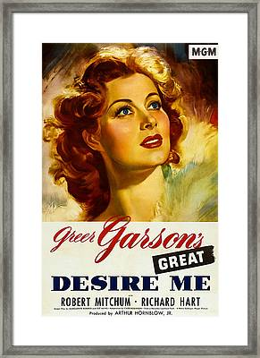 Desire Me, Greer Garson On 1-sheet Framed Print