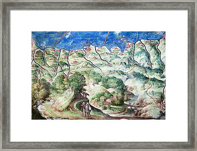 Detail Of 16th Century Map Of Liguria Framed Print by Sheila Terry