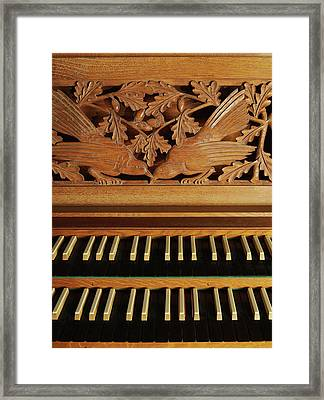 Detail Of A Pipe Organ With A Wooden Carving Framed Print by Gregor Hohenberg