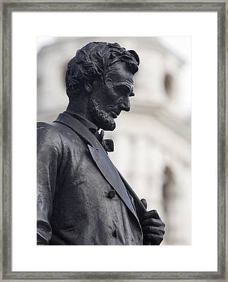 Detail Of Abraham Lincoln Framed Print by Augustus Saint-Gaudens