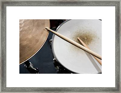 Detail Of Drumsticks And A Drum Kit Framed Print by Antenna