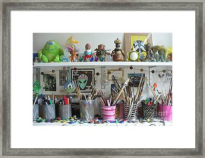 Detail Of My Shelves Brooklyn Alien Art Framed Print by Kristi L Randall