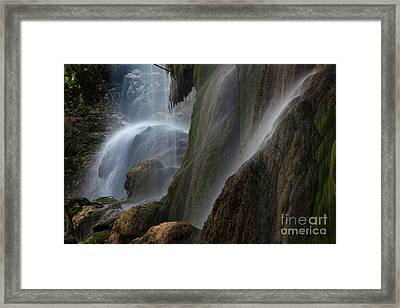 Detailed View Of Gorman Falls Framed Print by Keith Kapple