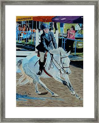 Determination - Horse And Rider - Horseshow Painting Framed Print