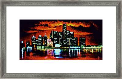 Detroit In Black Light Sold Framed Print