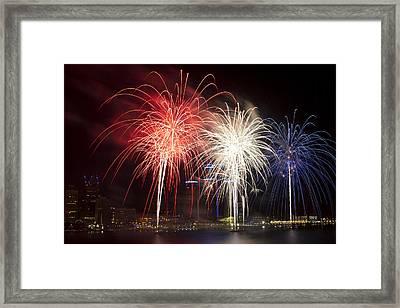 Detroit Patriotic Fireworks Framed Print by Cindy Lindow