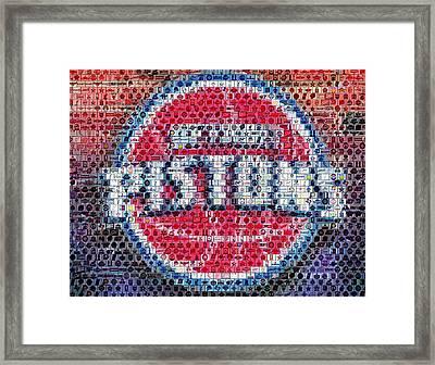 Detroit Pistons Mosaic Framed Print by Paul Van Scott