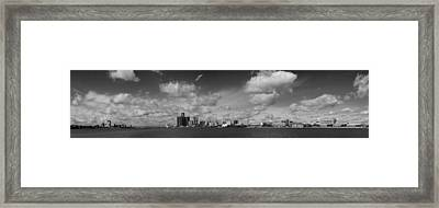Detroit Skyline In Black And White Framed Print by Twenty Two North Photography