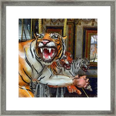 Detroit Tigers Carousel Framed Print by Michelle Calkins