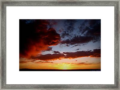 Developing Storm At Sunset Framed Print by Aaron Burrows