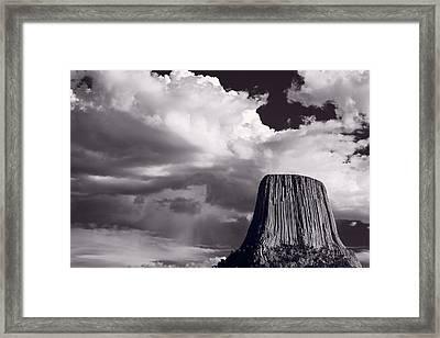 Devils Tower Wyoming Bw Framed Print by Steve Gadomski