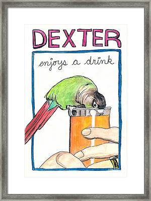 Framed Print featuring the drawing Dexter Enjoys A Drink by Ana Tirolese