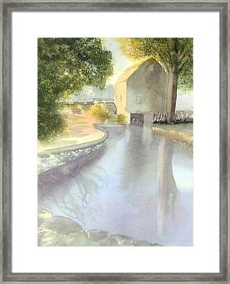 Dexter Grist Mill Reflections Framed Print by Joseph Gallant