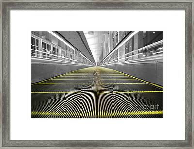 Framed Print featuring the photograph Dfw Airport Walkway Perspective Color Splash Black And White by Shawn O'Brien