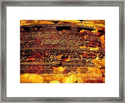 Dharma Inscription In Sarnath Framed Print by Adendorff Design