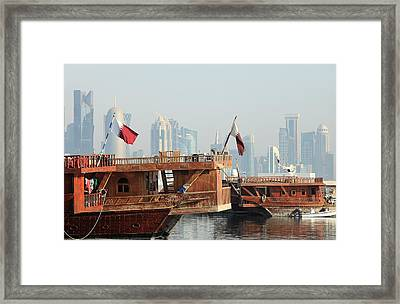Dhows And Doha Skyline Framed Print
