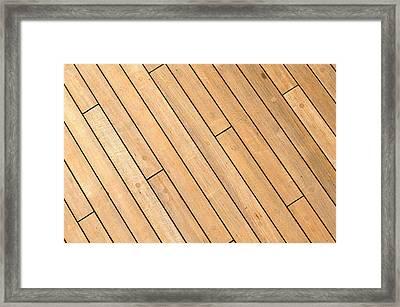 Diagonal Wooden Ship Deck Background Framed Print